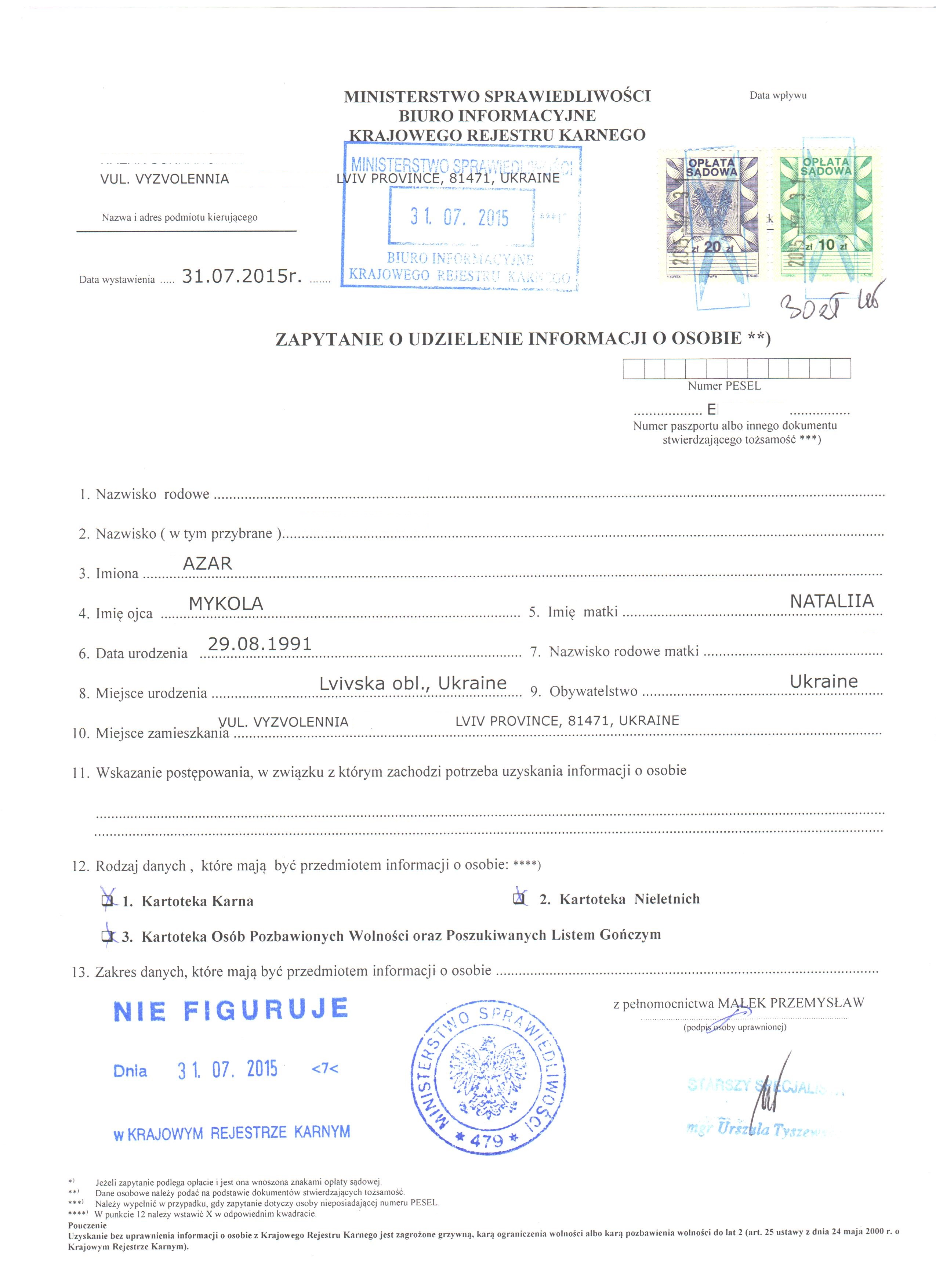 Police clearance certificate from Poland