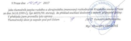 Sworn/ certified translation into the Czech language