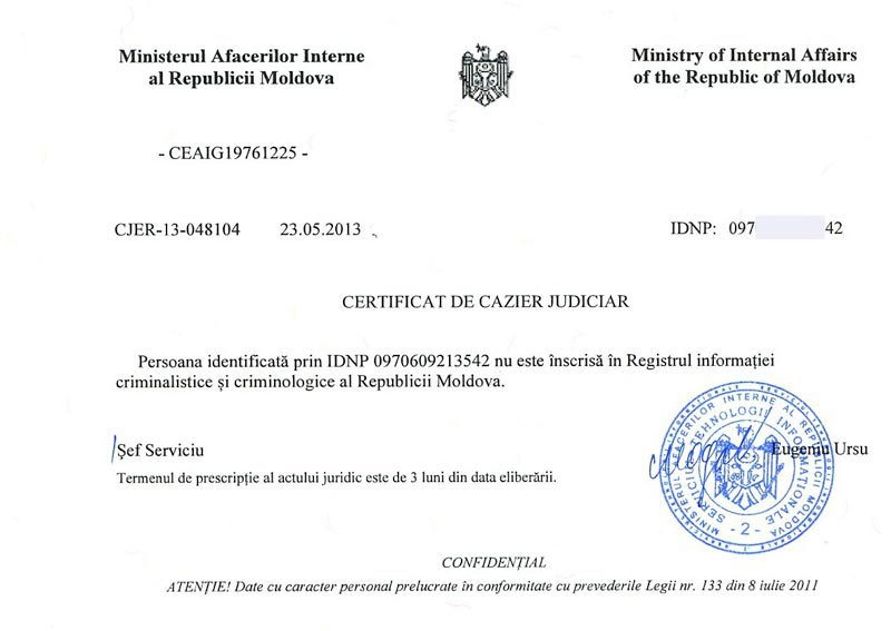 Police clearance certificate from Moldova